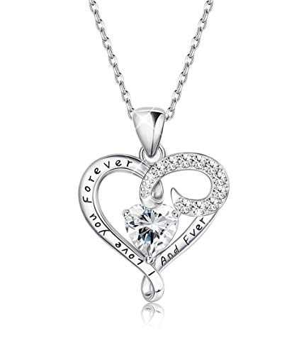 Sllaiss Sterling Silver Heart Pendant Necklace for Women Engraved Love CZ Necklace Anniversary Gift, Set with Austria Zirconia