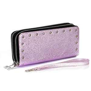 HUA ANGEL Wristlet Clutch Wallet Rivet Double Zipper Wristlet Wallet Long Purse for Women Lady Girls