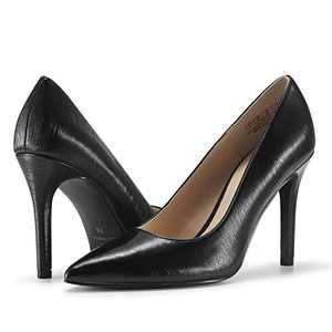 JENN ARDOR Stiletto High Heel Shoes for Women: Pointed, Closed Toe Classic Slip On Pearl Dress Pumps (8, Pblack)