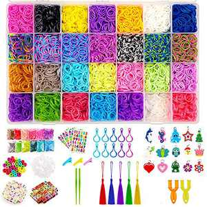 WISHTIME Rubber Bands Girls Toys - 11700+ pcs DIY Bracelet Making Kit Includes 10000+ Bands in 28 Colors, 175 Beads, 30 Charms, 5 Tassels, 5 Crochet Hooks, 3 Hair Clips