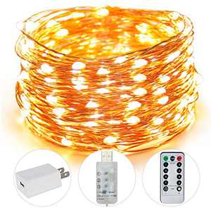 AUING Fairy Lights, 100 LED 33FT USB Indoor String Lights with Remote Timer Adapter, String LED Lights for Christmas, Party, Holidays, Garden, Wedding, Indoor, and Outdoor Decoration (Warm White)