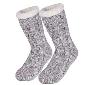 LongBay Women's Cozy Soft Slipper Socks Warm Knit Fuzzy Fleece Lined Non Slip Casual Stockings (Gray)