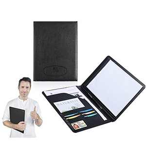 Leather Portfolio Folder Padfolio for Business School Office Conference Presentation Interview, Leather Resume Padfolio Folder Organizer for Men Women with Notepad and Pen