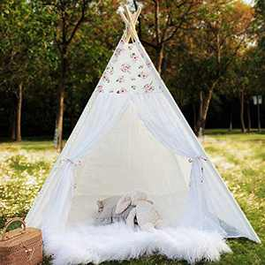 Avrsol Floral Kids Teepee with 9.9Ft Star Lights, Lace Teepee Foldable Play Tent for Girls
