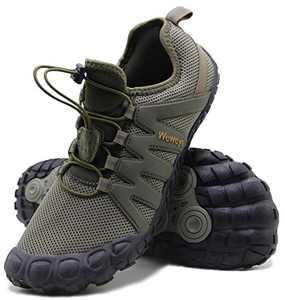 Weweya Barefoot Shoes Men Cross Training Five Fingers Minimalist Running Zero Drop Wide Toe Box Shoe Size 8.5 Army Green