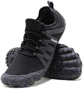 Weweya Minimalist Shoes Men Five Fingers Cross Training Barefoot Running Shoes Size 8.5 Black