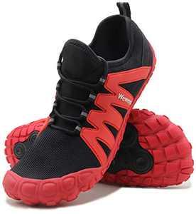 Weweya Barefoot Shoes Men Minimalist Road Running Cross Training Shoe Hiking Trekking Mountain Climbing Size 11 Black Red