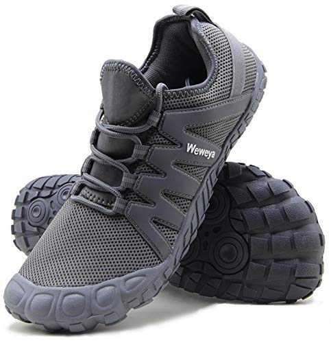 Weweya Cross Training Shoe Mens Five Fingers Minimalist Running Zero Drop Wide Toe Box Barefoot Shoes Size 9.5 Grey