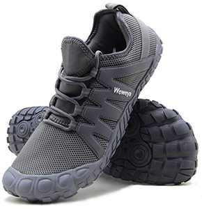 Weweya Cross Training Shoe Mens Five Fingers Minimalist Running Zero Drop Wide Toe Box Barefoot Shoes Hiking Trekking Mountain Climbing Size 10 Grey