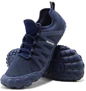 Weweya Running Shoes Men Minimalist Five Fingers Zero Drop Cross Training Barefoot Sneakers Size 7 Blue
