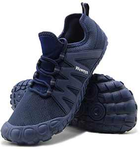 Weweya Running Shoes Men Minimalist Five Fingers Zero Drop Cross Training Barefoot Sneakers Size 12 Blue