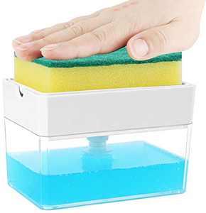 Dish Soap Dispenser for Kitchen, Innovative Soap Dispenser and Sponge Holder 2 in1, Countertop Soap Pump Dispenser Caddy - U.S. Design Patent