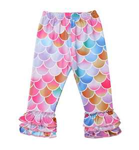 Girls Rainbow Stripe Leggings Clothes Bottoms Spring Winter Cotton Classic Stretchy Long Pants for Kids 2-7 Years (3~4T, B Fish Scale)