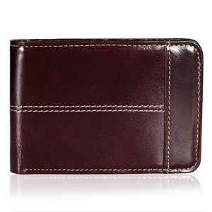 Mens Wallet Slim Genuine Leather RFID Thin Bifold Wallets For Men ID Window 12 Card Holders Gift Box (Brown)