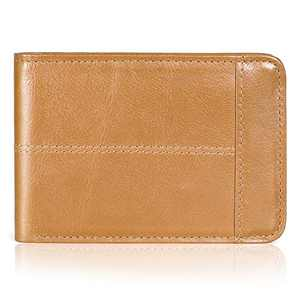 Mens Wallet Slim Genuine Leather RFID Thin Bifold Wallets For Men ID Window 12 Card Holders Gift Box (Caramel)