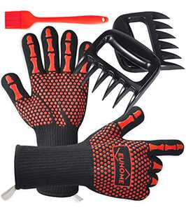 EUHOME 3 in 1 BBQ Gloves Grill Accessories with EN407 Certified Oven Mitts 1472 F° Extremely Heat Resistant Gloves, Grill Brush & BBQ Bear Claws. Perfect Gift for Men, Grill, Baking, Christmas