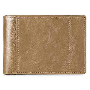 Mens Wallet Slim Genuine Leather RFID Thin Bifold Wallets For Men ID Window 10 Card Holders Gift Box (Khaki)