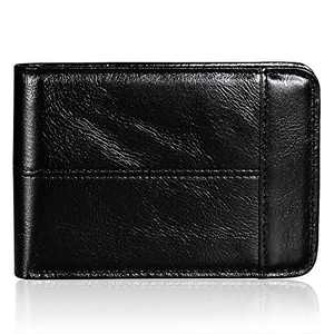 Mens Wallet Slim Genuine Leather RFID Thin Bifold Wallets For Men ID Window 12 Card Holders Gift Box (Black)