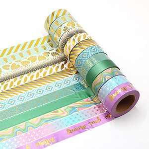 Manzawa Gold Foil Washi Tape Set of 12 Rolls, 15mmx10m Decorative Masking Tape for Arts, DIY Crafts, Planners, Scrapbooking (Mint Green,Gold,Purple)