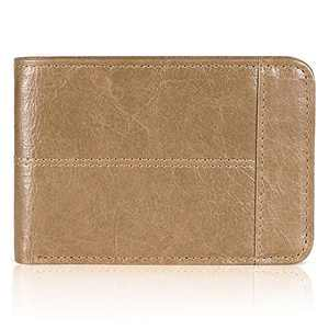 Mens Wallet Slim Genuine Leather RFID Thin Bifold Wallets For Men ID Window 12 Card Holders Gift Box (Khaki)