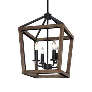 KingSo 4-Light Chandelier Rustic Metal Pendant Light, Adjustable Height Square Pendant Ceiling Hanging Light Fixture with Oil Rubbed Bronze Finish for Bedroom Kitchen Island Livingroom Farmhouse Foyer