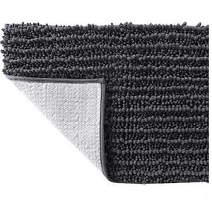 SOFTOWN Luxury Chenille Bathroom Rugs - Super Soft Plush Striped and Absorbent Microfiber Bath Mat for Bathroom, Machine Washable Non-Skip Bath Carpet (27 x 47 inch, Dark Gray)