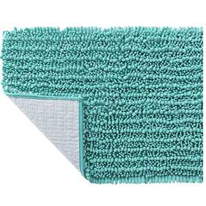 SOFTOWN Luxury Chenille Bathroom Rugs - Super Soft Plush Striped and Absorbent Microfiber Bath Mat for Bathroom, Machine Washable Non-Skip Bath Carpet (24 x 39 inch, Turquoise)