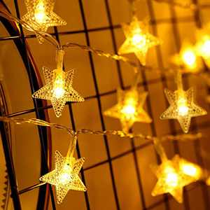 10ft 30 LED Star Led String Lights, Lights Battery Powered with 8 Flicker Modes, Remote and Timer for Wedding, Christmas, Birthday Parties, DIY Home Mantel Decoration (Star)