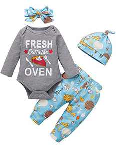 Happidoo 4PCS Infant Baby Boy Girl First Thanksgiving Outfits Fresh Outta The Oven Funny Bodysuit with Hat and Headband (Gray,3-6 Months)