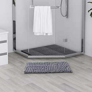 SOFTOWN Luxury Chenille Bathroom Rugs - Super Soft Plush Striped and Absorbent Microfiber Bath Mat for Bathroom, Machine Washable Non-Skip Bath Carpet (27 x 47 inch, Light Gray)