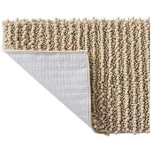 SOFTOWN Luxury Chenille Bathroom Rugs - Super Soft Plush Striped and Absorbent Microfiber Bath Mat for Bathroom, Machine Washable Non-Skip Bath Carpet (20 x 32 inch, Beige)