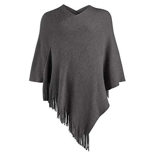 LIKIN Womens Poncho Sweater V Neck Solid Knit Pullover Cape, Grey, Size One Size
