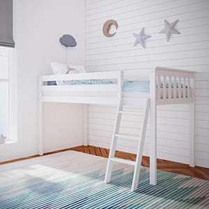 Max & Lily Solid Wood Twin-Size Low Loft Bed, White