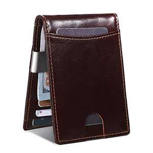 Mens Wallet Leather RFID Slim Bifold Wallets for Men Front Pocket Money Clip Wallet Minimalist Thin Cards Holder Gift Box (Coffe Brown)