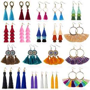 YRYM HT Tassel Earrings for Women - 20 Pairs Colorful Bohemian Long Layered Fringe Earrings Set Hoop Tiered Dangle Drop Tassle Earrings Pack Fashion Jewelry for Christmas Valentine Birthday Girls Gift