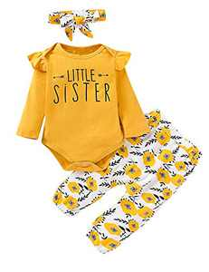Aslaylme 3PCS Little Sister Matching Outfits Long Sleeve Floral Pant Set (Z-Yellow-Little Sister,3-6 Months)