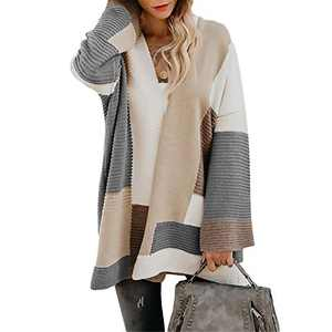 Exlura Womens Color Block Cardigan Open Front Sweaters Loose Knit Casual Coat