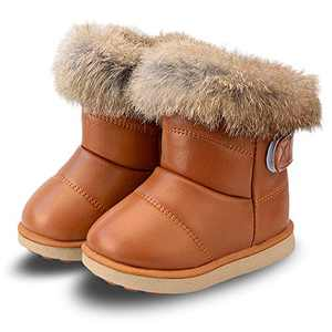 FJWYSANGU Toddler Girl Warm Winter Snow Boots Plush Inner Outdoor Boots Waterproof Walking Shoes Flat Easy on for Toddlers Little Girls Brown