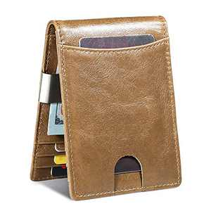 Mens Wallet Leather RFID Slim Bifold Wallets for Men Front Pocket Money Clip Wallet Minimalist Thin Cards Holder Gift Box (Khaki)