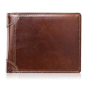 Mens Wallet RFID Genuine Leather Slim Bifold Wallets For Men Removable ID Windows 11 Cards Holders Gift Box (Red Brown)