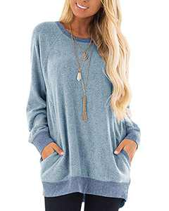 Womens Soft Color Block Casual Long Sleeve Round Neck Pocket T Shirts Blouses Sweatshirts Tops (Blue,XXL)