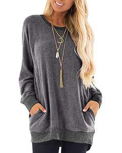 Womens Soft Color Block Casual Long Sleeve Round Neck Pocket T Shirts Blouses Sweatshirts Tops (Grey,S)