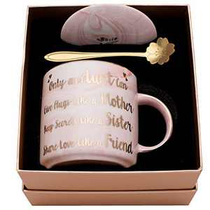 Luspan Aunt Mug Gifts - Best Gifts for Aunt - Only an Aunt Can Give Hugs Like A Mother Keep Secrets Like A Sister Share Love Like A Friend - Pink Ceramic Marble Mug 11.5 oz and FREE Lid