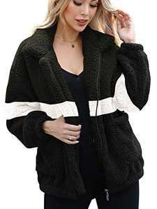 ANRABESS Womens Coats Lapel Fuzzy Fleece Overcoats Fashion Color Block Faux Fur Warm Winter Outwear Jackets A95lvbaihei-M