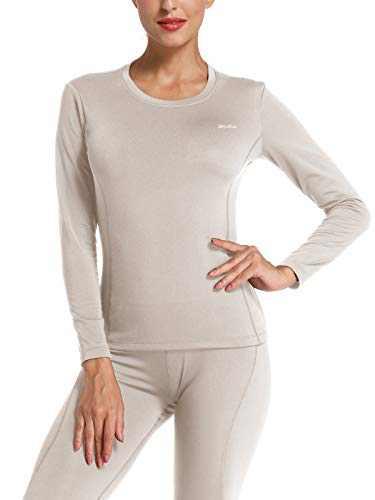 Willit Women's Thermal Underwear Top Fleece Lined Long Sleeve Shirt Midweight Base Layer Long John Gray L