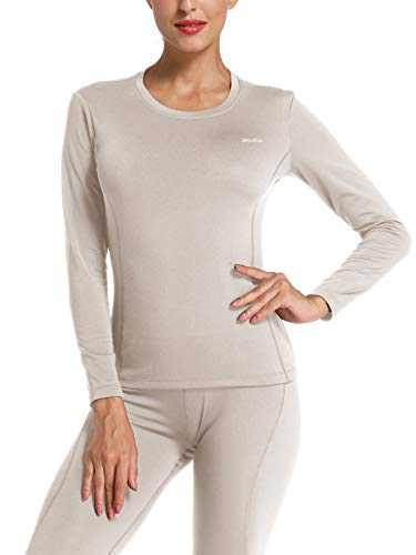 Willit Women's Thermal Underwear Top Fleece Lined Long Sleeve Shirt Midweight Base Layer Long John Gray S