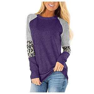 wonnmey Women's Long Sleeve Leopard Color Block Tunic Round Neck Casual Striped T Shirt Tops Purple