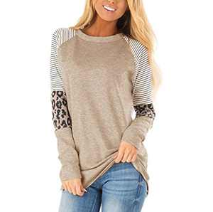 wonnmey Women's Long Sleeve Leopard Color Block Tunic Round Neck Casual Striped T Shirt Tops Brown