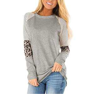 wonnmey Women's Long Sleeve Leopard Color Block Tunic Round Neck Casual Striped T Shirt Tops Gray
