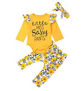 Toddler Girl Sleeveless Outfits Miss Sassy Pants Floral Shorts Set Clothes (0-6Months, Long Sleeve(Yellow))